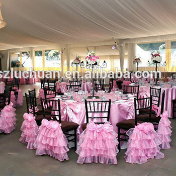 Newest Beautiful Pink Organza Ruffles Chair Wedding Decoration