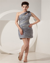 One-Shoulder Mini Evening Dress Beaded Ruched Zippper Sequins Mother Of The Bride Dress