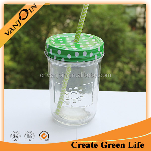 Customized Paper Straw Mason Jar 8oz