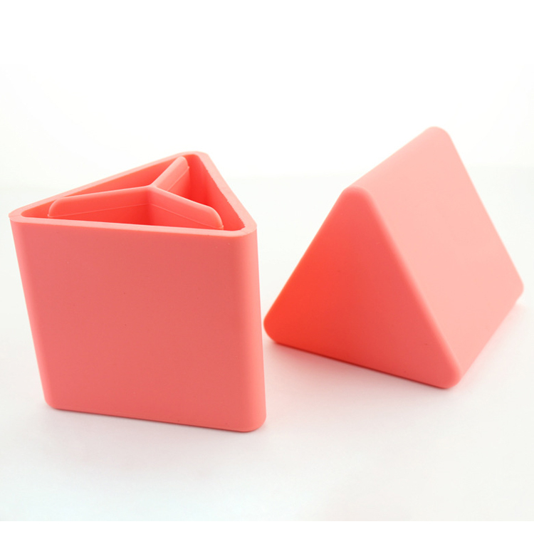 Colorful School Triangle Shape Silicone Pen Pencil Holder Container For Teenager