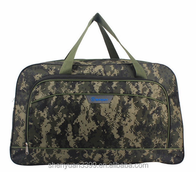 Fashion large camo duffle bags travel bag with army green