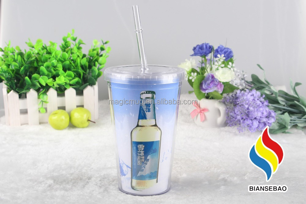 made in china personalize double layer plastic cup with straw