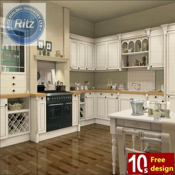 Ritz 2015 cheap white solid wood kitchen cabinet wooden for Cheap white kitchen cabinets