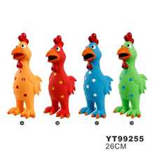 Promotion Four color orange/red/blue/green chicken design pet dog latex squeak chew toys item YT99255