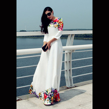 onen 2016 New Women Dresses With White Floral Maxi Dress Women Floral party evening Dress Women Clothing