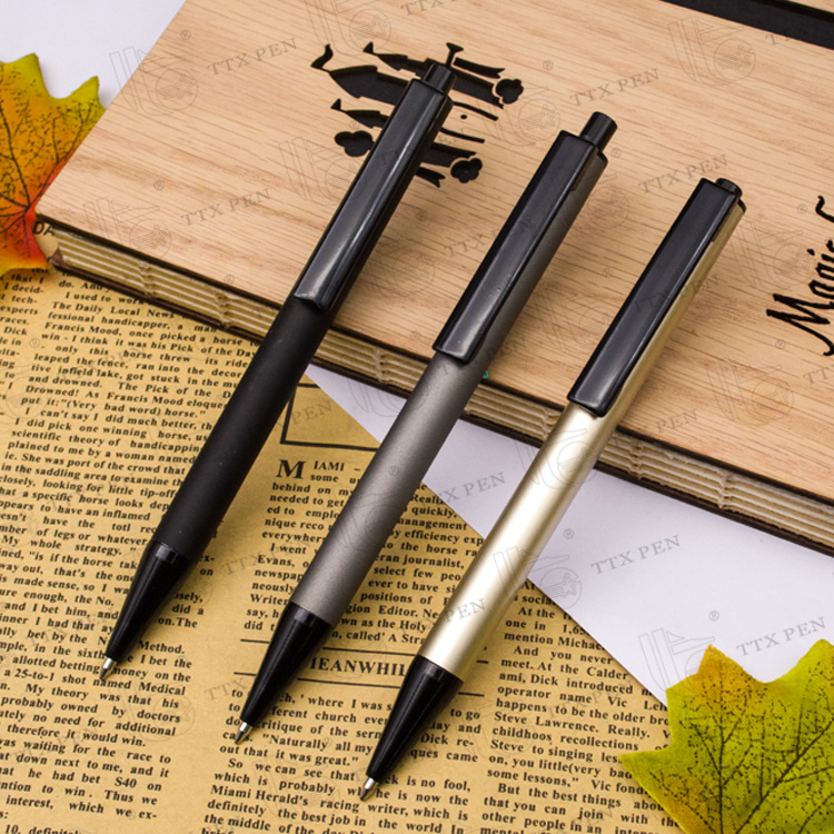 high quality promotional black custom logo metal ballpoint pen for business