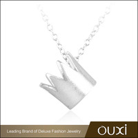 Wholesale China Jewelry OUXI Gold Plated Silver Crown Necklace