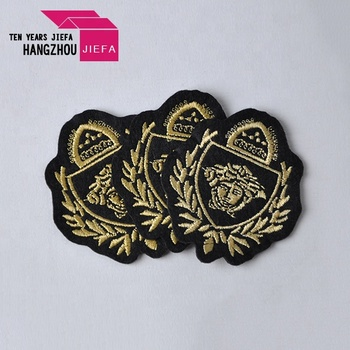 Cheap popular design iron on embroidered woven badge clothing patches custom