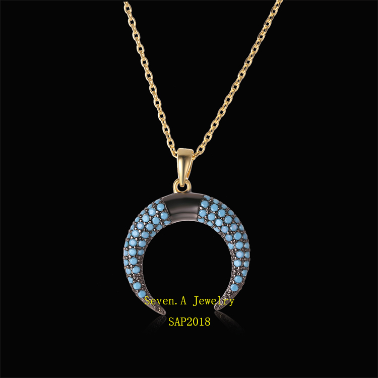 SAP2018 Turkish Jewelry 925 Sterling Silver Micro Pave Nano Turquoise Pendant Necklace