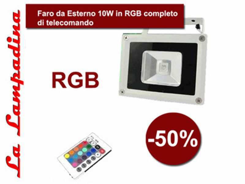 LED FLOODLIGHT RGB 10W + REMOTE CONTROL / FARO LED RGB CON TELECOMANDO 10W