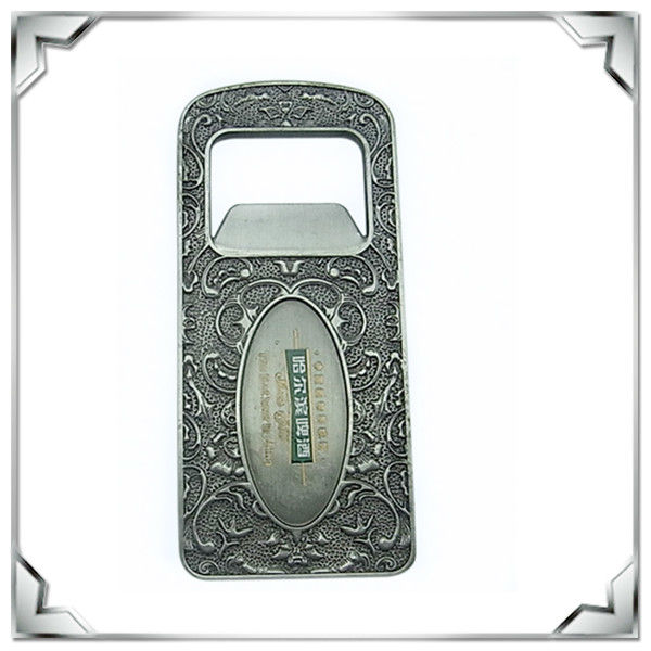 customized rectangle shaped antique tin plated metal bottle opener hot sale
