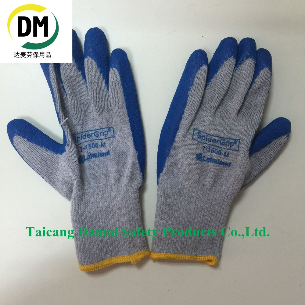 Blue Wrinkle Latex Gray Cotton Coated Yellow Seam Line Work Glove