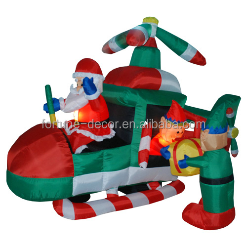 240cm/8ft polyeater christmas plane,santa flying a plane with Afo carrying the giftbox air blown holiday decoration