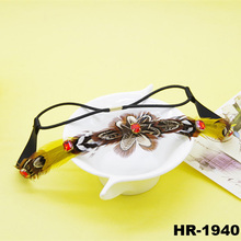 Nepal bohemia retro satin feather hair accessories sparkling red rhinestone hairband feather headband
