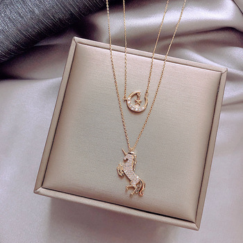 2019 new diamond necklace women's double clavicle chain short chain