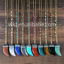 WT-N435 Wholesale Gemstone horn tusk rosary necklace crystal beads paved gemstone necklace