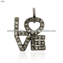Pave Diamond Love Charms Pendant, 925 Sterling Silver Diamond Love Alphabet Charm Pendant, Wholesale Diamond Charm Jewelry