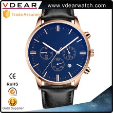 Trendy hot no brand name Luxury japan movement stainless steel watch, chronograph custom watch men with leather band