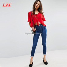 Latest Fashion Tie Front Blouse with Frill Sleeve
