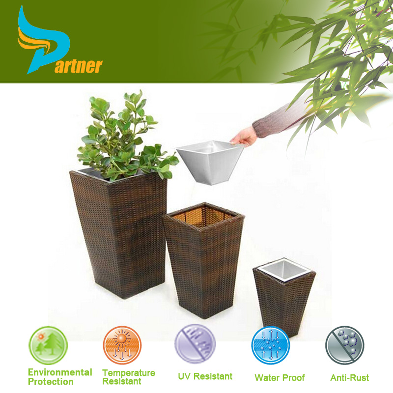 Large Square Outdoor Cheap Garden Poly Rattan Flowerpot