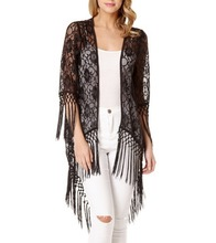 Custom design newest sexy women black cardigan wholesale lace kimono