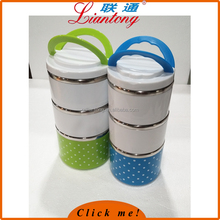Diameter 13.5cm Food Carrier Stacking Lunch Box, Stainless Steel Interior Stacking 3 Tier Food Container Tiffin keep warm