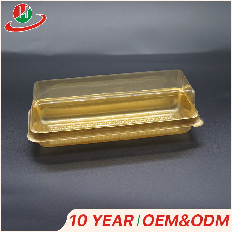 Sale high quality factory swiss roll cake plastic blister box container with transparent lid