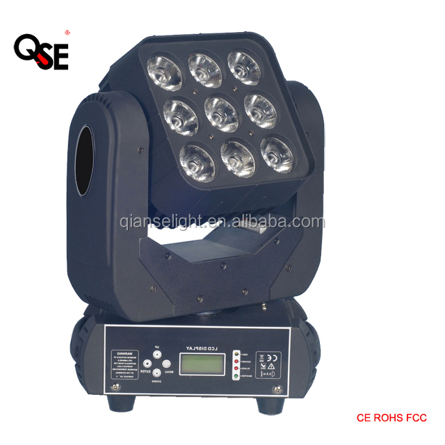 DJ lighting LED Matrix <strong>beam</strong> 9*<strong>10</strong> <strong>W</strong> Quad LEDs moving head lighting portable compact size easy mount Party Essential