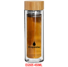 EG505 410ML/14OZ New design factory sale high borosilicate glass filtered sports drinking water bottle with bamboo cap