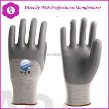 YIBOLI Manufacture very soft liner coated pu cut working gloves cut resistant gloves