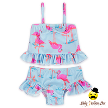 Ruffle Top With Ruffle Bloomer Baby Girls Swimwear Bikini Swan Printed Beach Wear Kids Swimwear