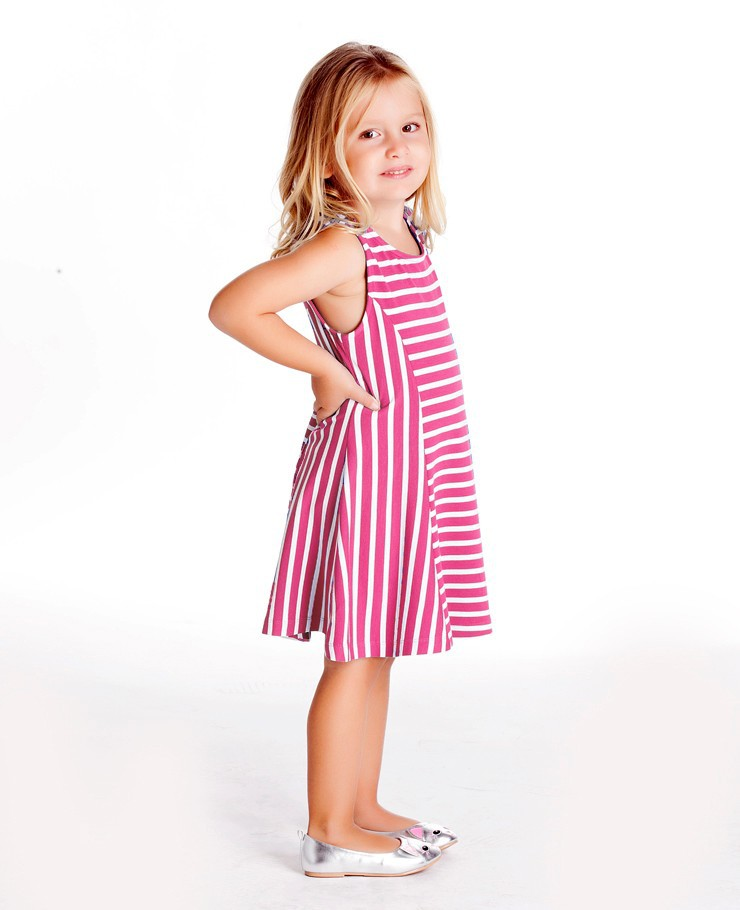 ROUND NECK SLEEVELESS FLOUNCE STRIPED DRESS FOR CHILDREN