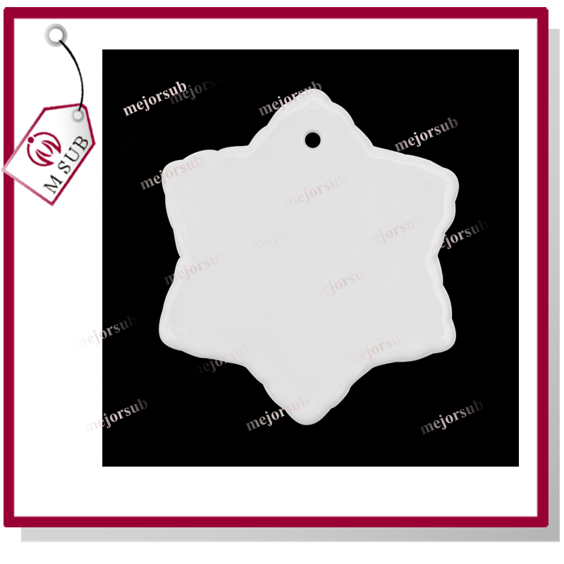 3'' snowflake shape sublimation blank ceramic ornament custom photo Christmas ornament