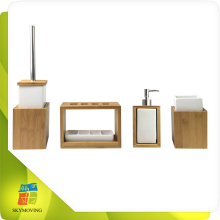 Eco-friendly nature bamboo and ceramic bathroom accessory set