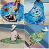Stunning Summer Breeze Blue Mandala Manufacturer Beach Towel Round Without Tassels