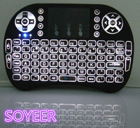 Soyeer wholesale i8+ 2.4G Wireless Backlight Keybaord with Touchpad for Android tv box, Mini PC,i8+ with backlit Smart
