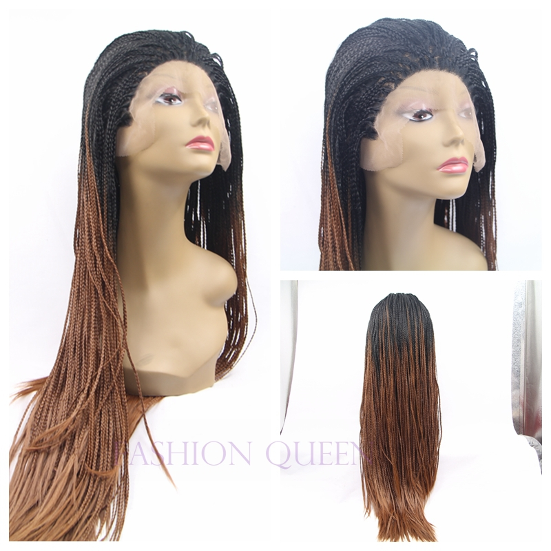 Cheap Ombre two tone color black to brown braided lace front wigs synthetic micro braided african american hair wigs new styles