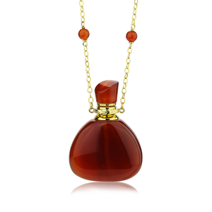 China wholesale 925 sterling silver jewelry aromatherapy bottle shape red agate gemstone essential oil diffuser necklace pendant