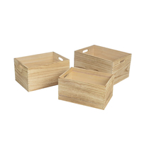 Set Of 3 Custom Size Eco-friendly Natural Pine Wooden Storage Box Organizer