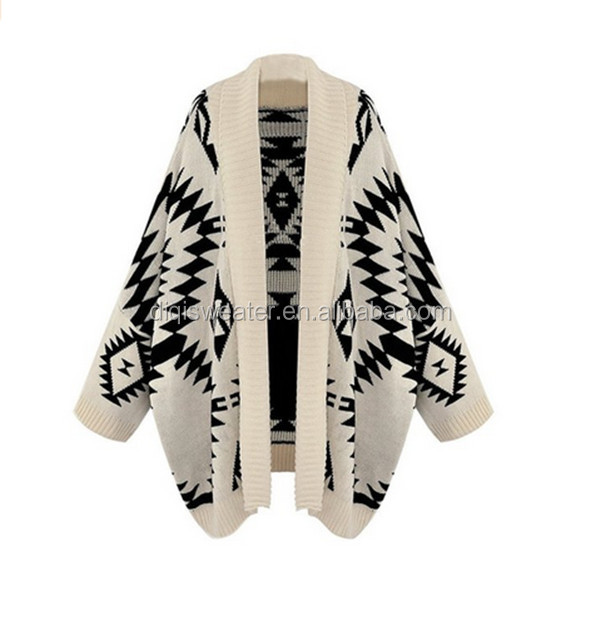 ladies high quality fashion hot sale Knitted printing long sleeve Cardigan Poncho