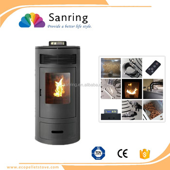 hot selling 9 kw round design wood pellet stove with remote control