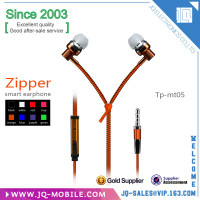 High quality hot sell headphone With Mic 3.5mm in-ear Noise Cancelling zipper earphone