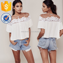 2017Manufacture Wholesale Women Apparel Rayon Crepe Crochet Lace And Tulle Paneling Off-shoulder Blouse (TF0016B)