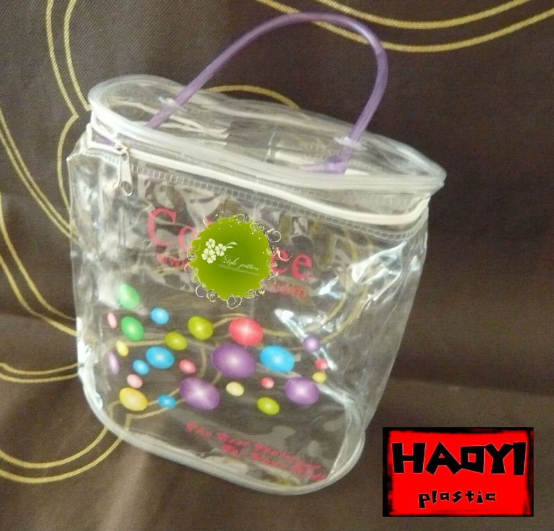 2017 hot sale candy wrapping clear plastic gift zipper top bag with handle