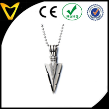 Stainless Steel Arrowhead Pendant Necklace Silver Polished with 23.6 Inches Steel Ball Chain