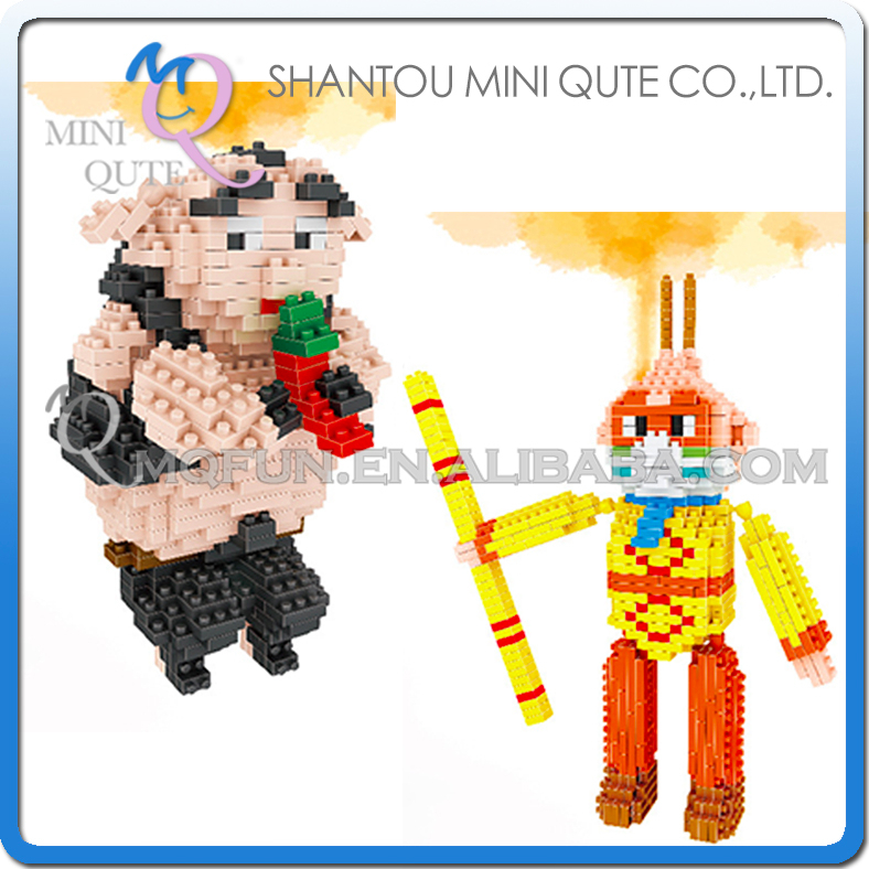 Mini Qute Lele Brother 2 styles Kawaii chinese Monkey Pig King plastic building blocks brick cartoon model educational gift toy