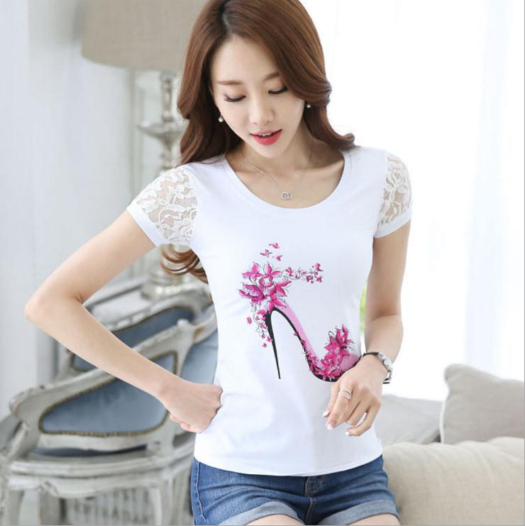 2017 new style cotton girl tee shirt short sleeve custom print women t shirt