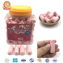 Novelty pink strawberry soft candy jam filled marshmallow