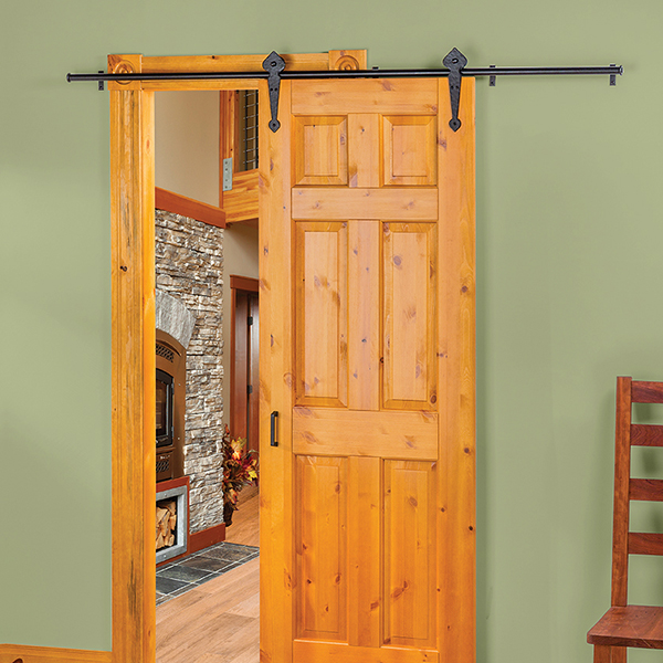6.6Ft Timeless 6.6Ft Barn Door Hardware Kitblack Powder Coat