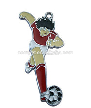 Made in China Zinc Alloy Metal Football Player Enamel Charm Pendants